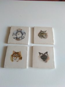 Cat costers set of 4 by Gary Raven