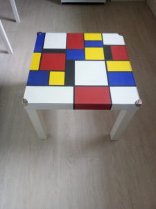 IKEA coffee table with Mondrian/De Stijl design by Geoff Rey