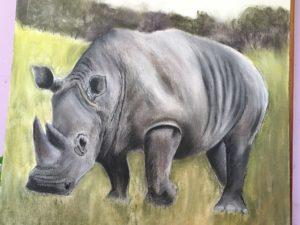 White rhino by Lenny Jordan Blinding Art