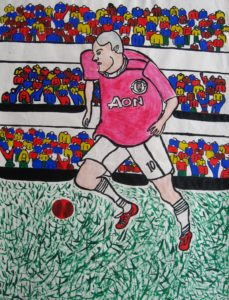 Man United Football Player (Rooney) by Poppy Box with Aborgin Type Tradition