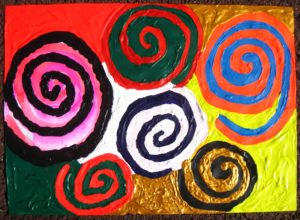 Coloured Spirals with Personal Designs by Glitter Landscape and Trees