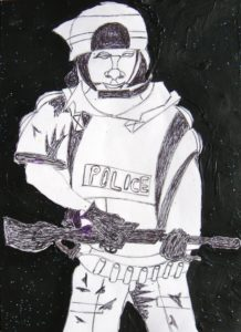Riot Police by Brother in 1990 Gulf War