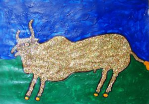 Raging Sparkling Bull by Glitter Landscape and Trees