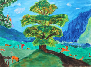 Tree with animals by Anna Newman