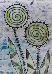 Two Green Flowers by arlene c