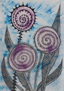 Three Lavender Flowers by arlene c