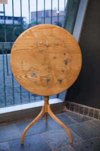 Inlaid tilt-top table by Ross Gilbertson