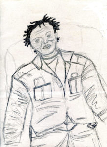 John Akomfrah – Sketch by Gina A Smith