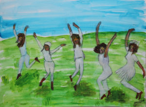 Happy Children Dancing in the Field by Josie