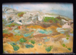 'Outdoor Painting (Sandy Beach, Lemba, Cyprus)'  2005 by SOLD  'Glistening Jewels (Isle of Skye)'  2013