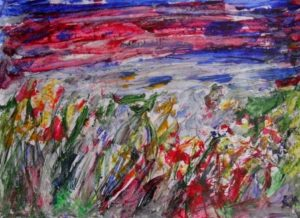 landscape with flowers by Keith Davies