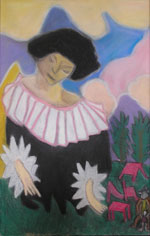 Lady in Black (inspired by Chagall) by Jacqueline Burton