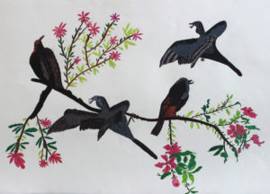Birds on Blossom Tree by Linda Merryweather