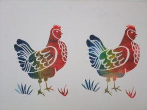 Two rainbow hens by arlene c