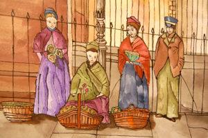 Victorian Flower Girls (detail) by Liz Innes