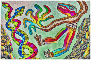 Lizardman is bowled over by a pair of snakes by Otto Magus