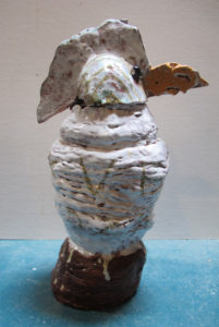 White Bird Vase with Lid by Maria Wicko