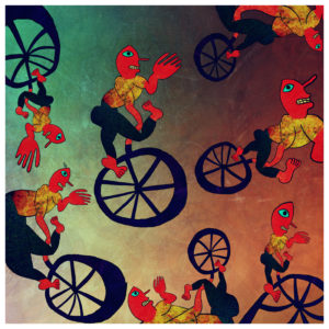 Mercury Magus attempts to learn the art of riding a unicycle. by Otto Magus