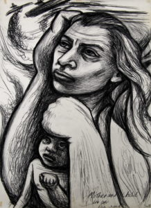 Mother and Child in an air-raid by Maureen Scott
