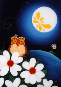 Night Owl with Flower Moon by Melanie Hodge