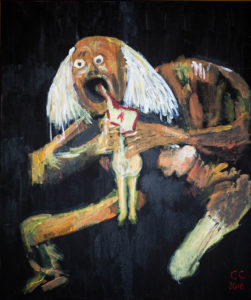 Mortimer eating his son because there aren't any more leftovers. After Goya. by Colin Cameron