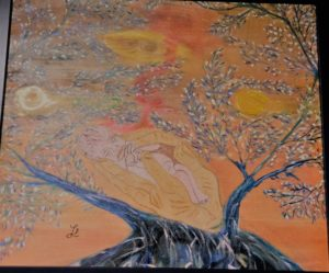 My Psychotherapist's Hands And Me On The Tree Of The Life by Lucia Daramus