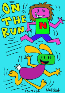 NATALIE AND RAD RABBIT GO FOR A RUN! by NATALIE PRIEST