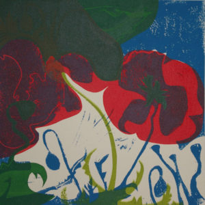 Night falls on dancing poppies by Mary Johnson