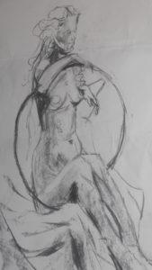 Nude girl with hoop by blodwyn jones