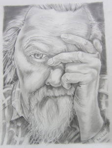 old man in graphite by Steve Pinchess