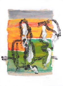 Orange and Green Figurative Print by Annabel Wyatt