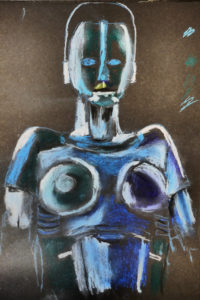 Blue female robot by William Phillips
