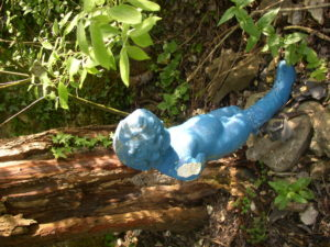 Blue boy with Wellie by Su Moberly