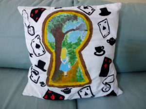 Alice in Wonderland Cushion by Isabelle McGowan