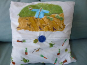 Peter Rabbit Cushion (reverse) by Isabelle McGowan
