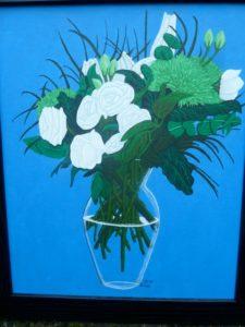 White roses in vase by Jason Andrews