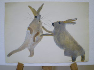 Boxing Hares by Ali
