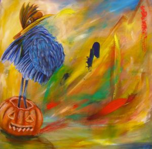 Blue Chicken In Pumpkin Space Hopper (c) Copyright Kate Lomax 2009 All Rights Reserved by Kate Lomax