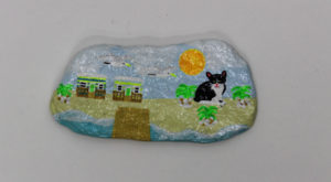 Cat on the Beach Pebble by Stephen Humphrey