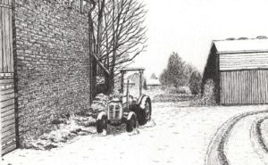 The little red Ferguson Tractor in the snow by John Prince