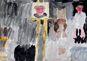 My Interpretation of David Dawson's photograph 'Lucian Freud with David Hockney by Pennie Galletly