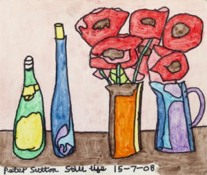 Still Life with Bottles and Flowers by Peter Sutton