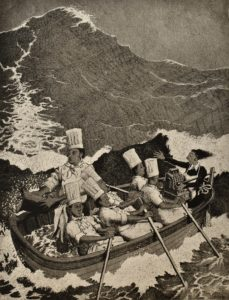 Six cooks and a waitress in a lifeboat by The Wrong Pub