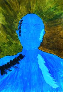 Blue Self Portrait by Pierre van den Bergh