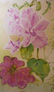 pink flowers by blodwyn jones