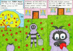 Puppet Monst Picks Apples by ScruffyOwlet