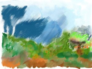 Rainy landscape by Watercolour sketch 2