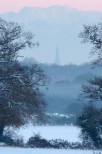Snowy Chichester Cathedral by Kate Simms