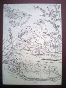 Kingfishers and Ducks in burgandy by Moira Taylor