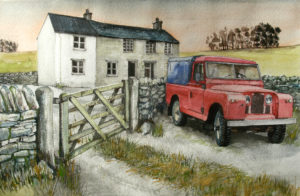 Red Landrover series 1 by John Lowerson